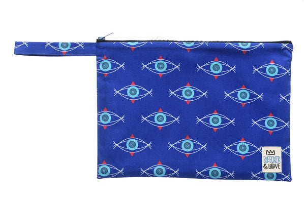 Bleecker & Love Cotton Zip Pouch - Blue Evil Eye