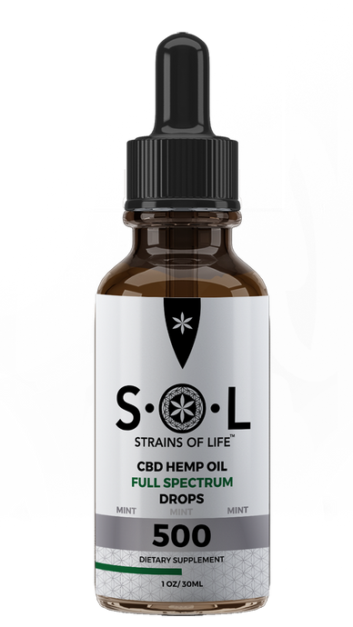 S•O•L CBD HEMP OIL DROPS 500 - MINT FLAVOR - FULL SPECTRUM