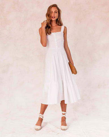 Hydra Linen Dress - White
