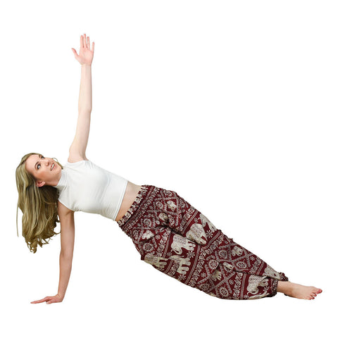 Sherri Cherry Harem Pants on Model doing Yoga Pose