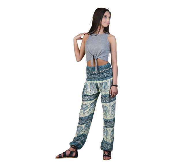 Caira Peacock Harem Pants on Model