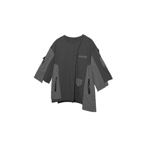 AN-CRA102 Multi-pocket T-shirt - Aesthetic Homage  | Techwear | Noragi | Lhamo | Men's Kimono