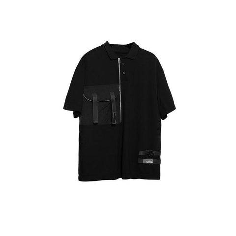 AN-CRA79 Multi-Pocket Polo Shirt - Aesthetic Homage  | Techwear | Noragi | Lhamo | Men's Kimono