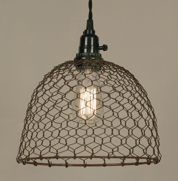 farmhouse style wire cage pendant light