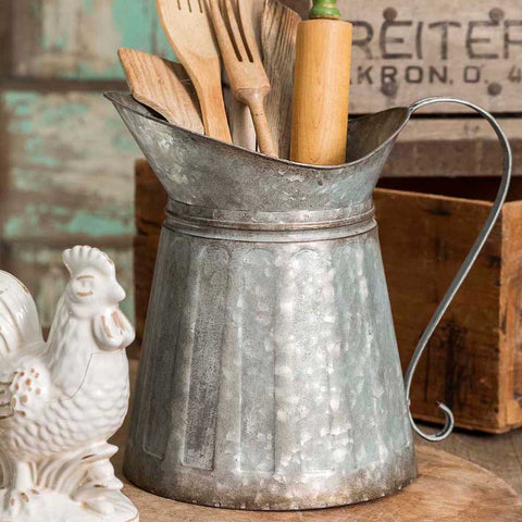 corrugated metal milk pitcher