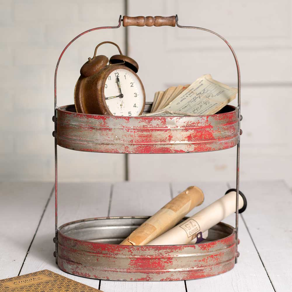distressed red metal 2 tiered caddy