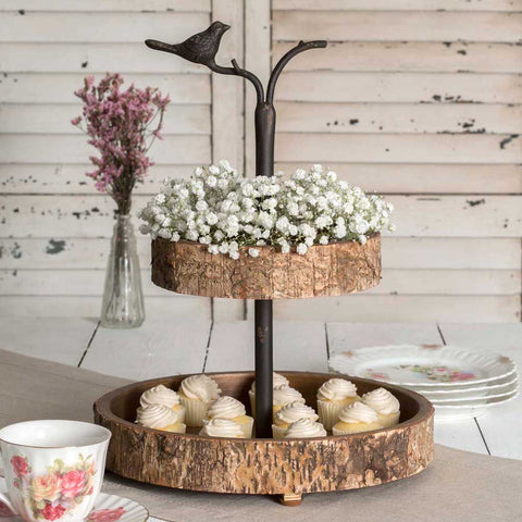 rustic birch and metal tiered tray stand with bird handle