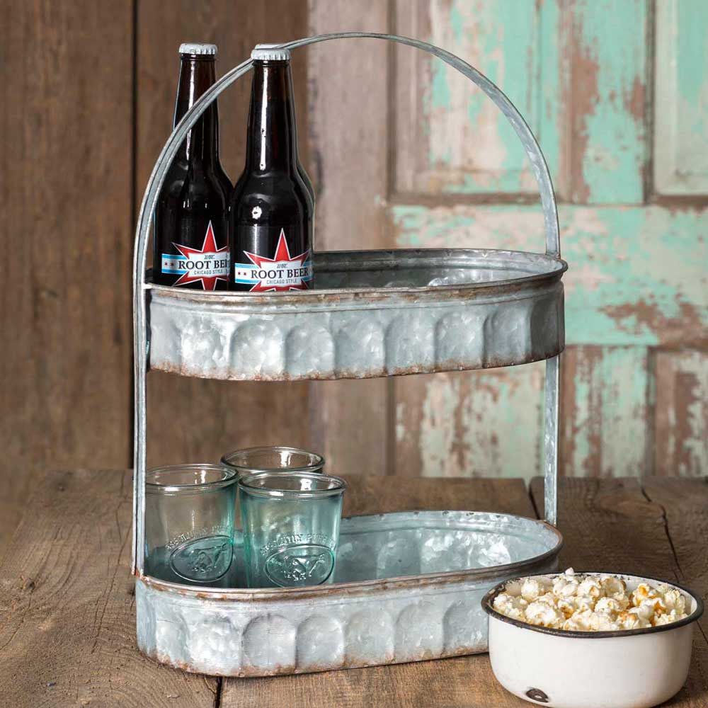 two tiered farmhouse style metal tray