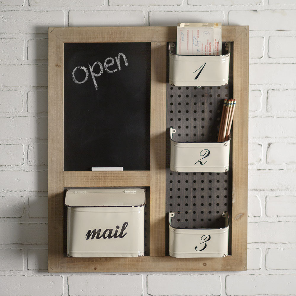 vintage style wall organizer with enamel pockets and chalkboard