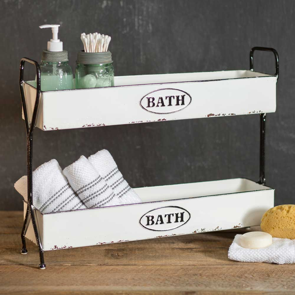 white enamel 2 tier bath caddy