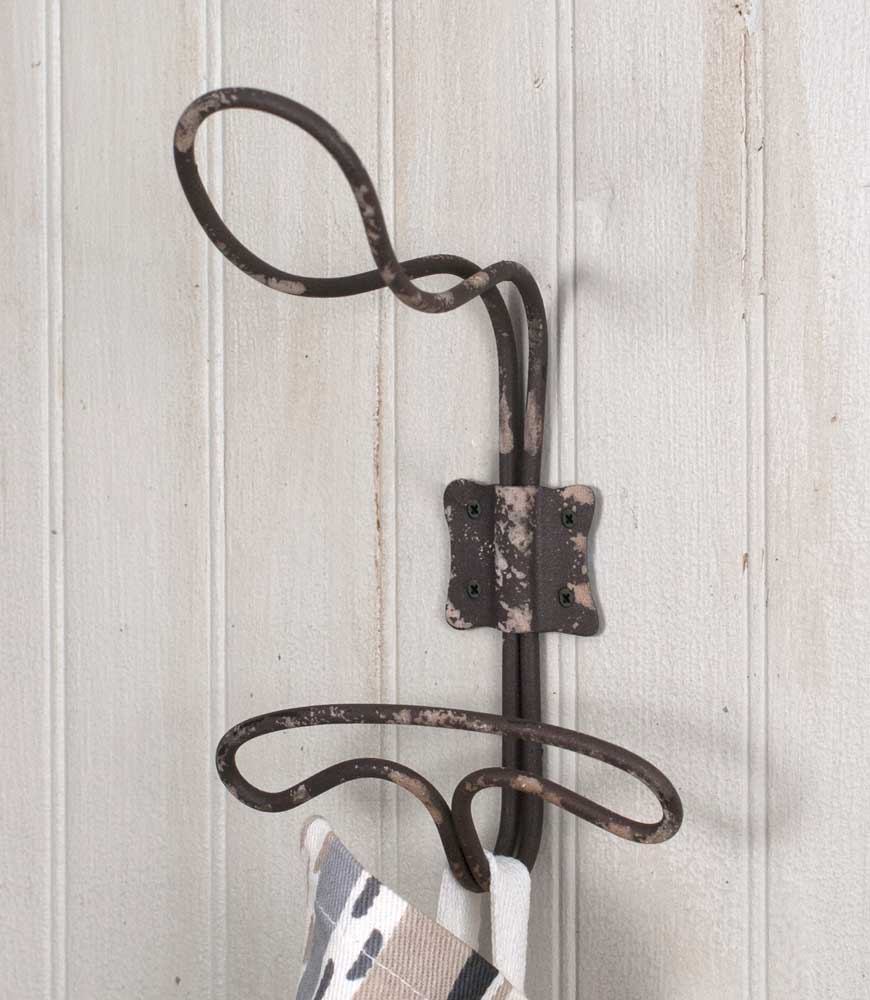 Vintage Farmhouse Style Wire Wall Hooks, Set of 4
