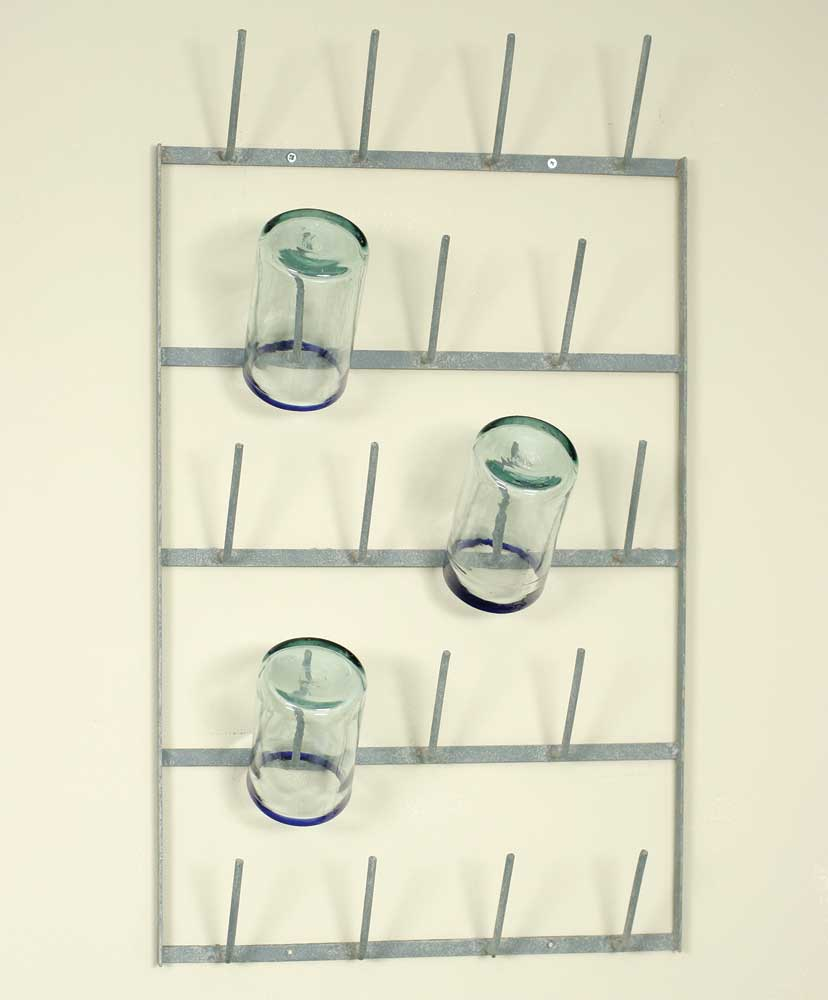 distressed metal wall mounted bottle rack