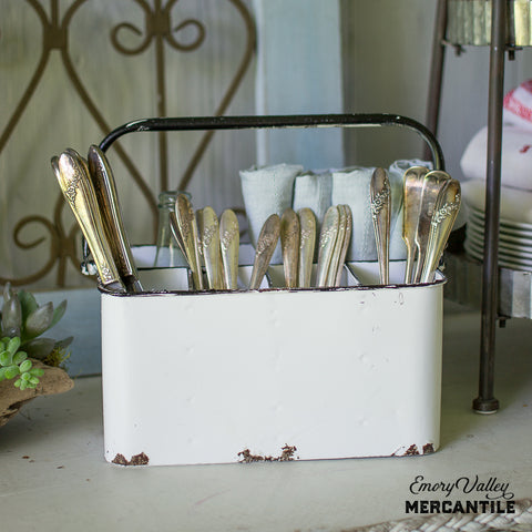 white enamelware caddy