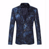 Men Blazer Slim Fit Men Floral Blazer Famous Navy Blue Wine Red Velvet Blazer Vintage Stage Wear