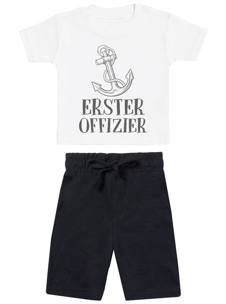 Erste Offizierin - Baby T-Shirt with Schwarz Baby Shorts - Baby Outfit