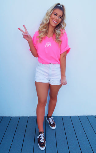 Happy Girl Tee: Neon Pink