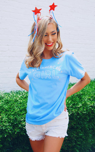 All American Girl Tee: Carolina Blue