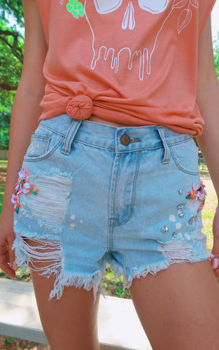 Blooming Bead Shorts: Denim