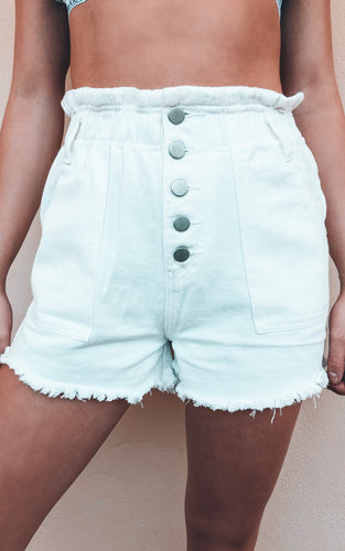 Brighter Days Shorts: White Denim