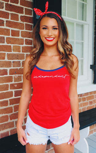 Independent Tank: Red/Navy