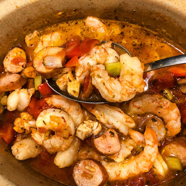 Slow Cooker Seared Chicken Thigh & Shrimp Gumbo