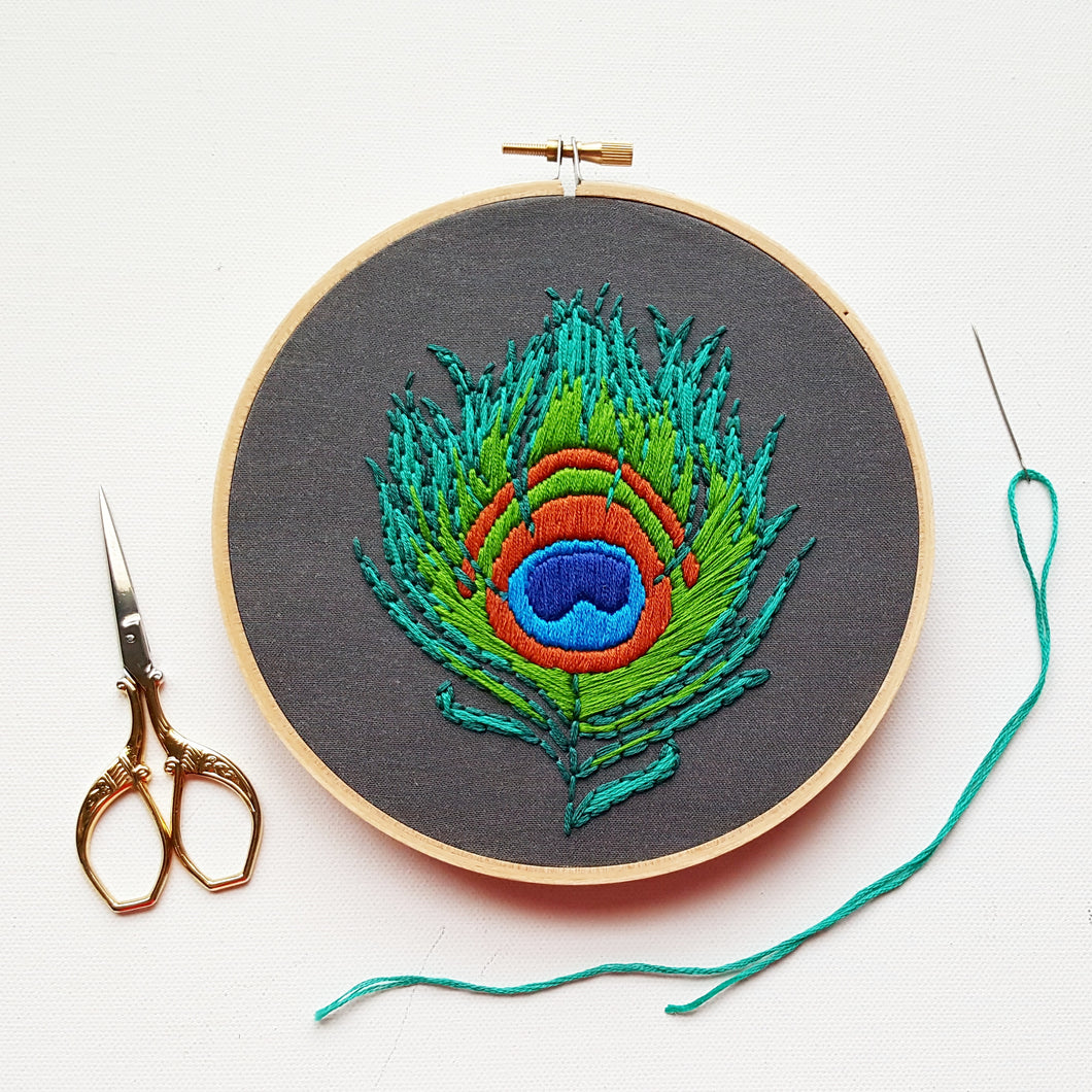 Peacock Feather Embroidery Pattern  (PDF)
