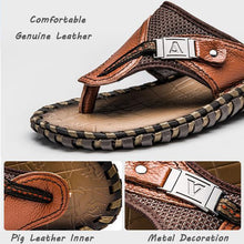 New Men's Flip Flops Genuine Leather Slippers