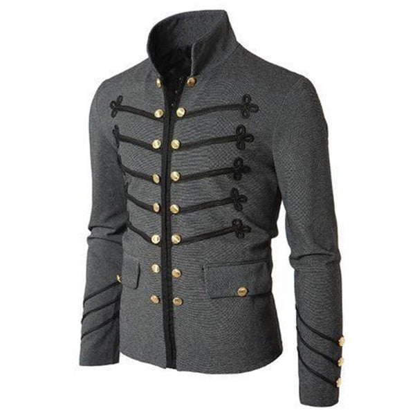 Vintage Stand Up Collar Button Casual Men's Coat