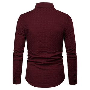 Pure Color Long Sleeve Lapel Single-Breasted Men's Shirt