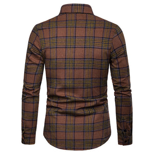 Lattice Pattern Long Sleeve Lapel Men's Shirt