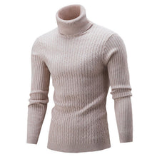 Pure Color Long Sleeve Pullover High Collar Men's Sweater