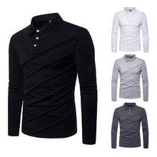 Casual Solid Color Stitching Lapel Men's Shirt