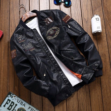Regular Color-blocked Zippered Men's Pleather Coat