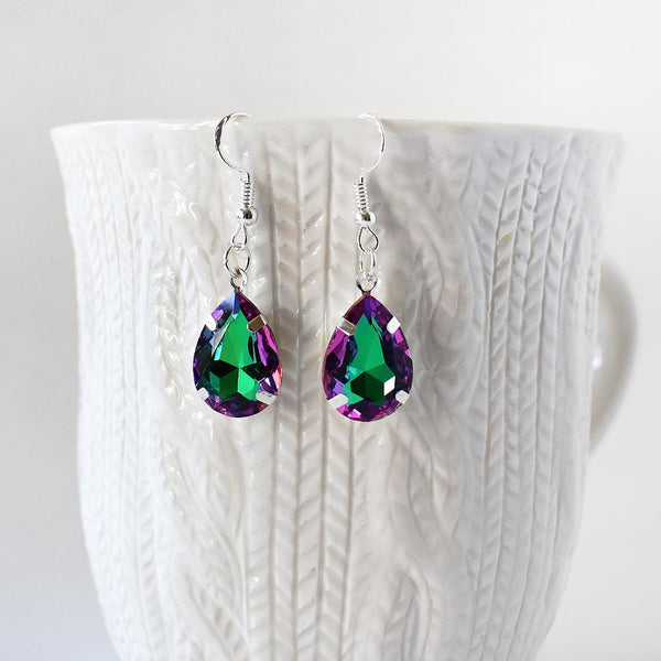 Green And Purple Crystal Teardrop Earrings