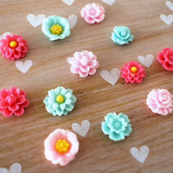 Magnets - Pink And Teal Flower Magnets