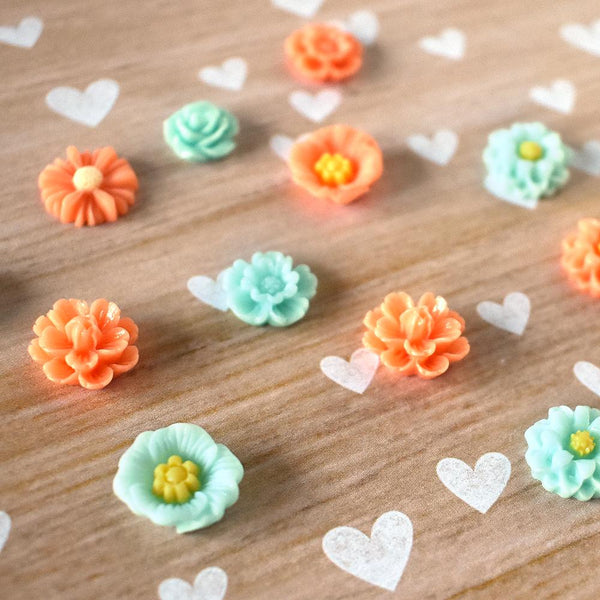Magnets - Teal And Orange Flower Magnets
