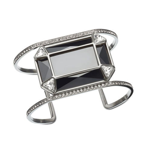 SWAROVSKI SEGMENT FACETED BLACK RECTANGLE CUFF
