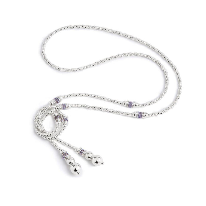 Fluidity Lariat in Silver and Swarovski + Grey/Mauve