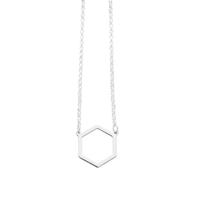 Geometric Hexagon Necklace in Silver
