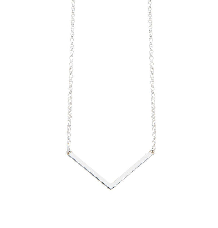 Geometric Angle Necklace in Silver