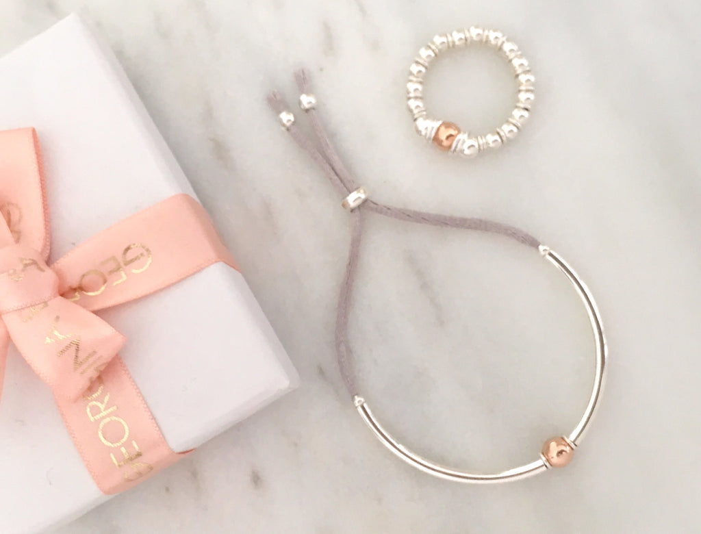 Unity Friendship Bracelet in Silver + Rose Gold Plated Sterling Silver + Soft Grey