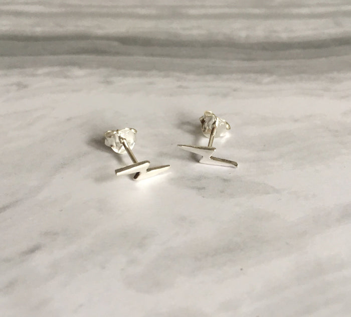 Lightening Bolt Stud Earrings in Silver