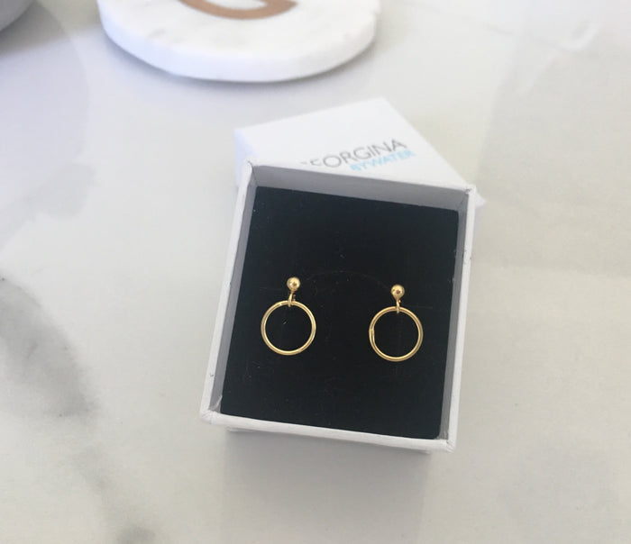 Circle Drop Earrings in Gold Plated Sterling Silver