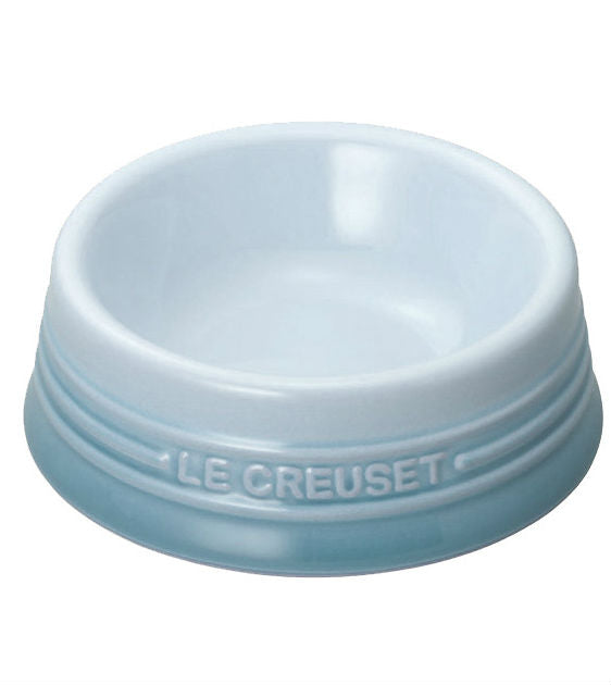 Le Creuset Handcrafted Coastal Blue Glazed Ceramic Dog Bowl