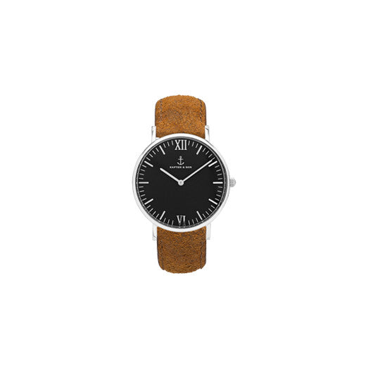 Montre Silver Black Brown Vintage Leather