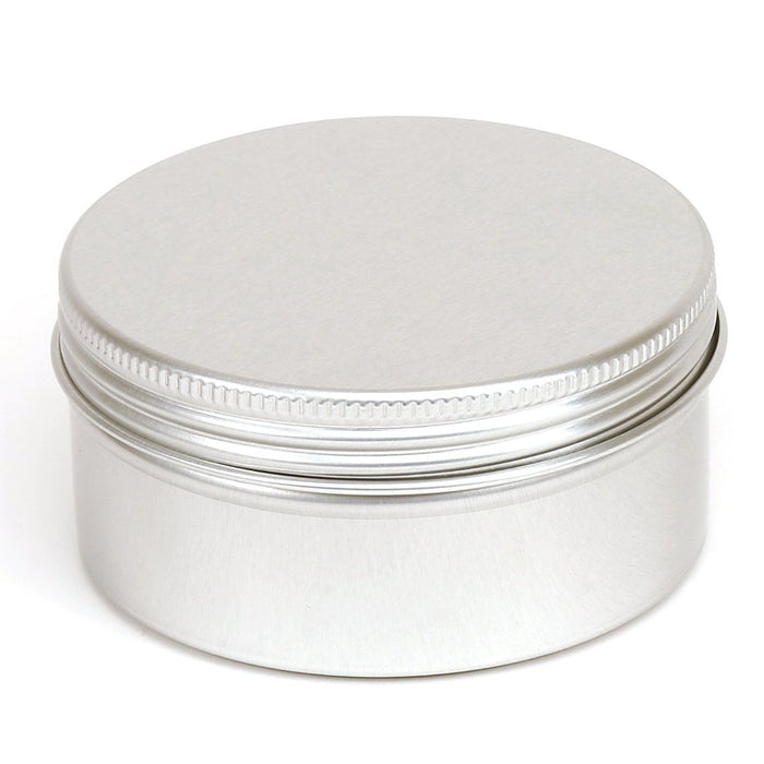 Silver Round Aluminium Tin Container With EPE Lined Screw Lid