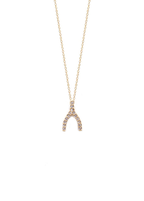 Mini CZ Wishbone Charm Necklace
