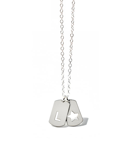 Initial Mini dog Tag Necklace