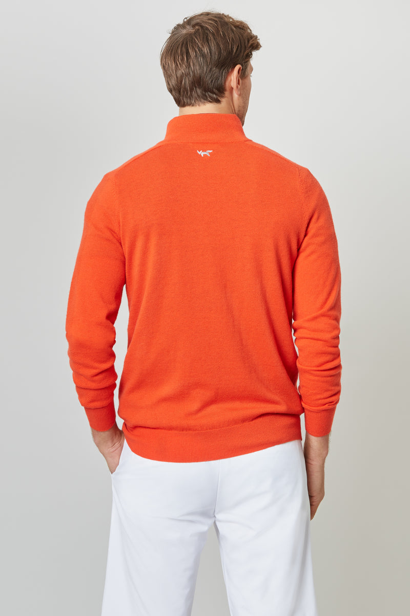 Deep Mandarin Merino 1/4 Zip Sweater