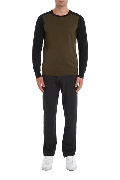 Military Crew Neck Sweater In Merino Wool